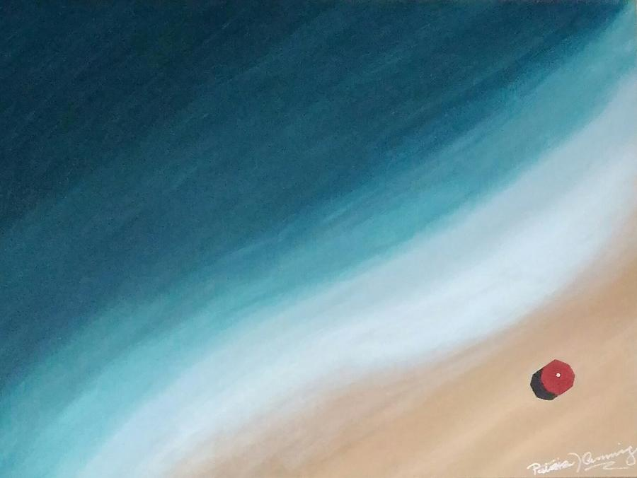 Pacific Ocean and Red Umbrella by Patricia Brewer-Cummings