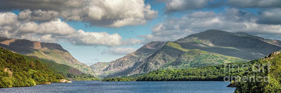Padarn Lake Snowdonia Panorama by Adrian Evans