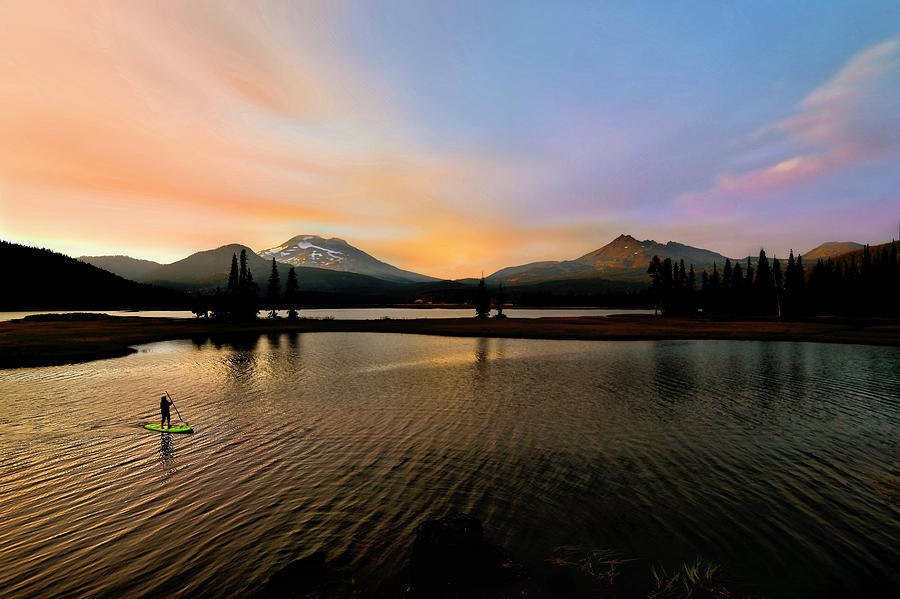 Paddle Boarder on Sparks Lake by SCENIC EDGE PHOTOGRAPHY
