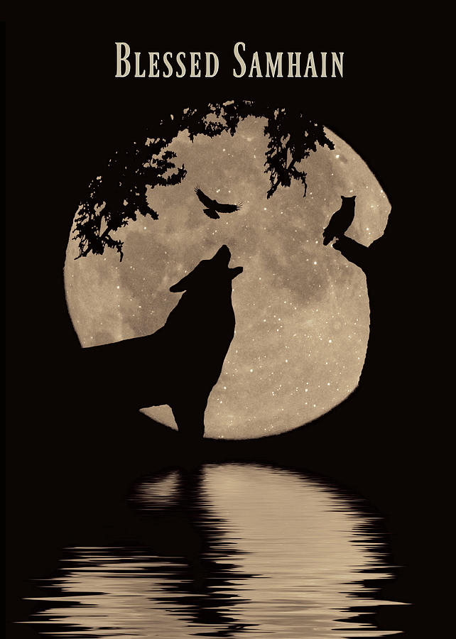 Pagan Wiccan Samhain Blessed Samhain With Wolf, Raven, Owl And Harvest Moon