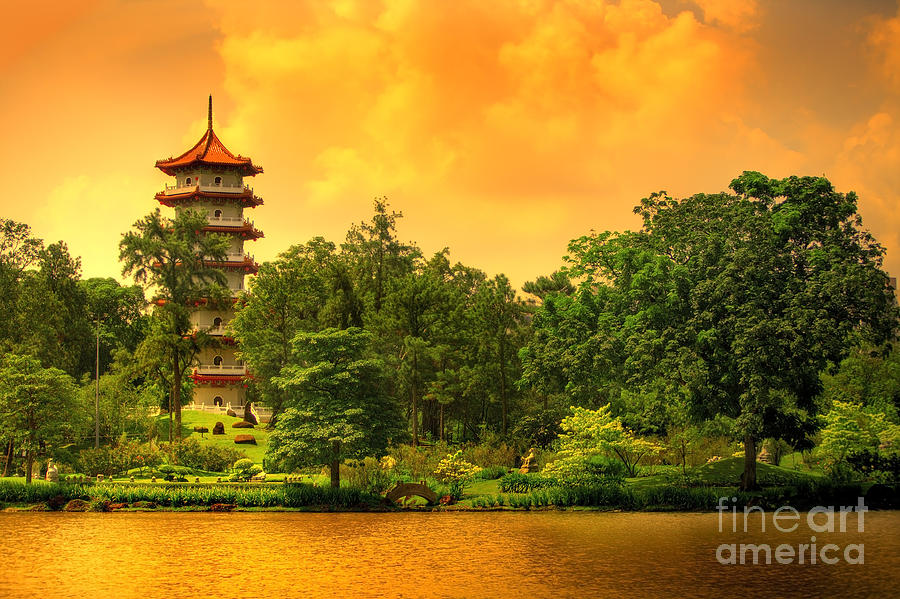 Religious Photograph - Pagoda Of The Chinese Gardens In by Ben Heys