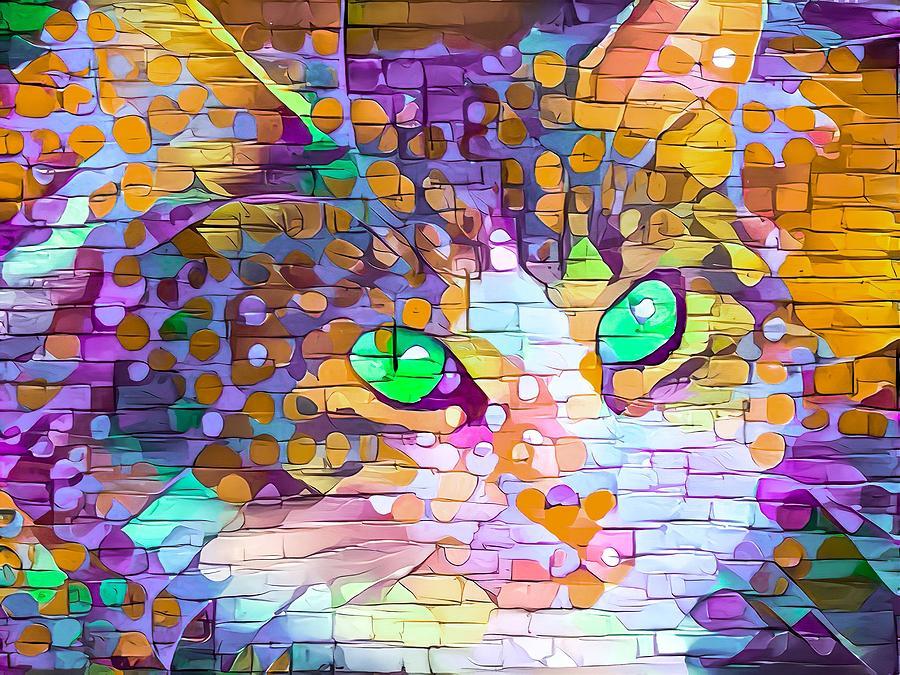 Paint Daub Cat Portrait Green Eyes Digital Art