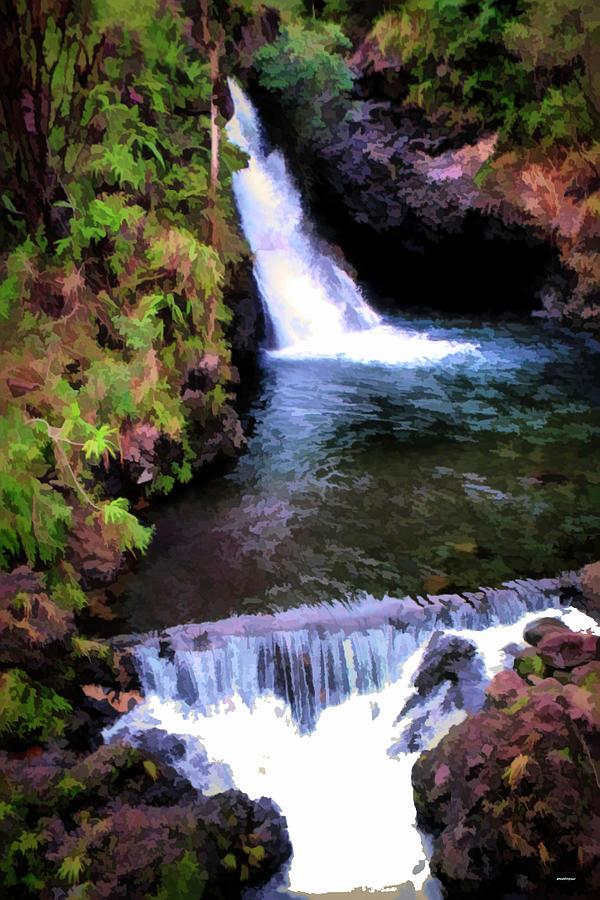 paint effect Waikamoi Falls by Tom Prendergast