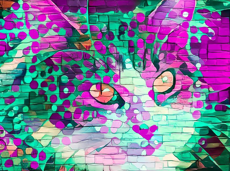 Paint My Cute Kitty Face Pinkish Green Digital Art