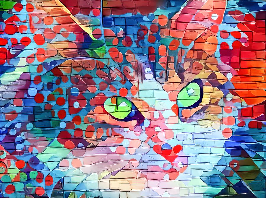 Paint My Cute Kitty Face Red White And Blue Digital Art