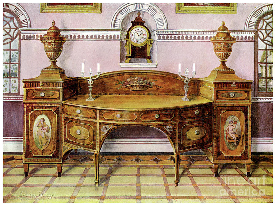Painted And Inlaid Satinwood Sideboard Drawing by Print Collector