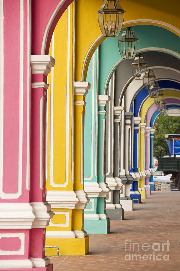 Penang Photograph - Painted Arches 3, George Town, Penang by Mark Hall