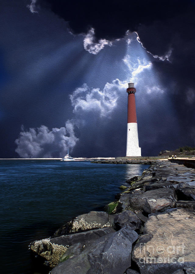 Painted Barnegat Lighthouse Photograph