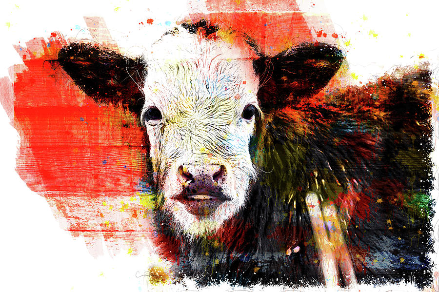 Painted Black and White Painted Baby Calf by Orenda Pixel Design