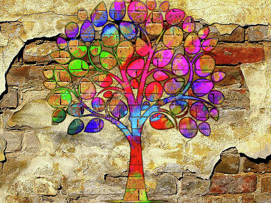 Painted Brick Tree On The Wall by Max Huber