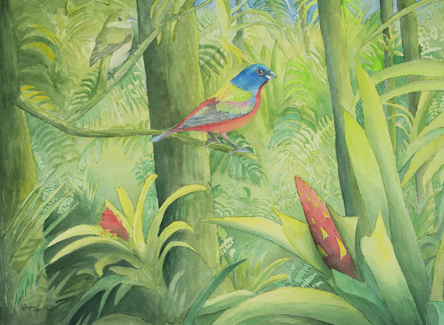 Painted Bunting by George Harth
