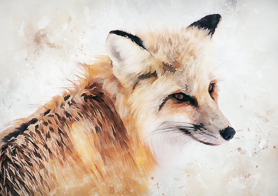 Painted Fox Mixed Media by Amanda Lakey