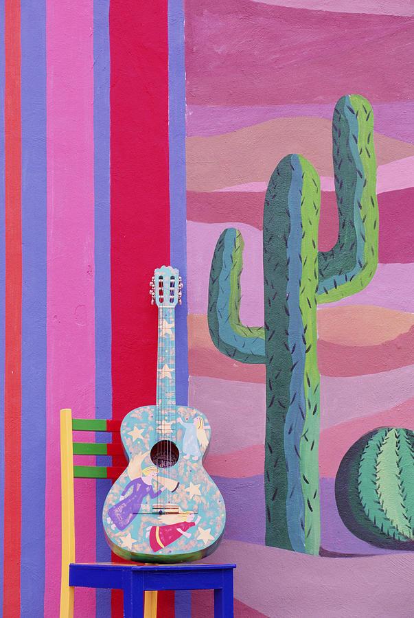 Painted Guitar, Chair & Wall In Cancun Digital Art by Grant Faint
