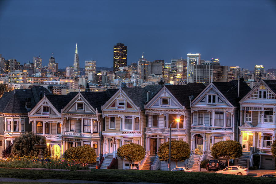 Painted Ladies From Alamo Square Photograph by Fuminana