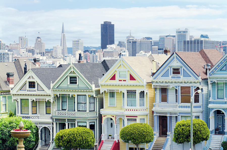 Painted Ladies Houses Next To Alamo Photograph by Gregobagel