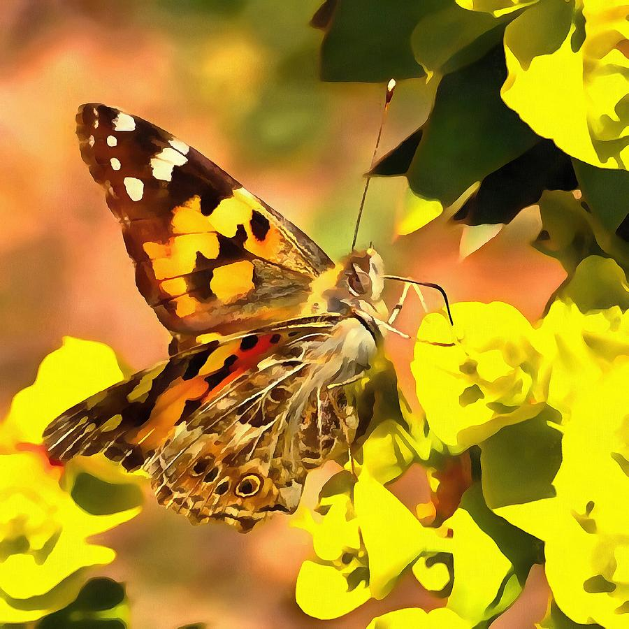 Painted Lady Butterfly on Myrtle Spurge  by Taiche Acrylic Art
