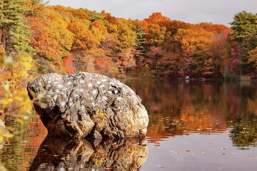 Painted Rock Birch Pond Lynn Massachusetts by Jeff Folger