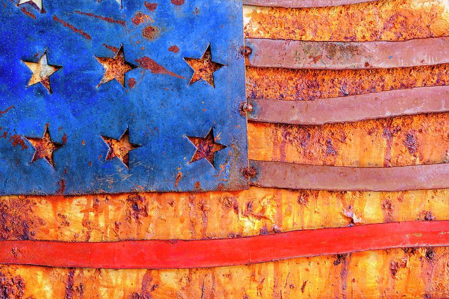 Horizontal Photograph - Painted Us Flag, Georgia, Usa by Panoramic Images