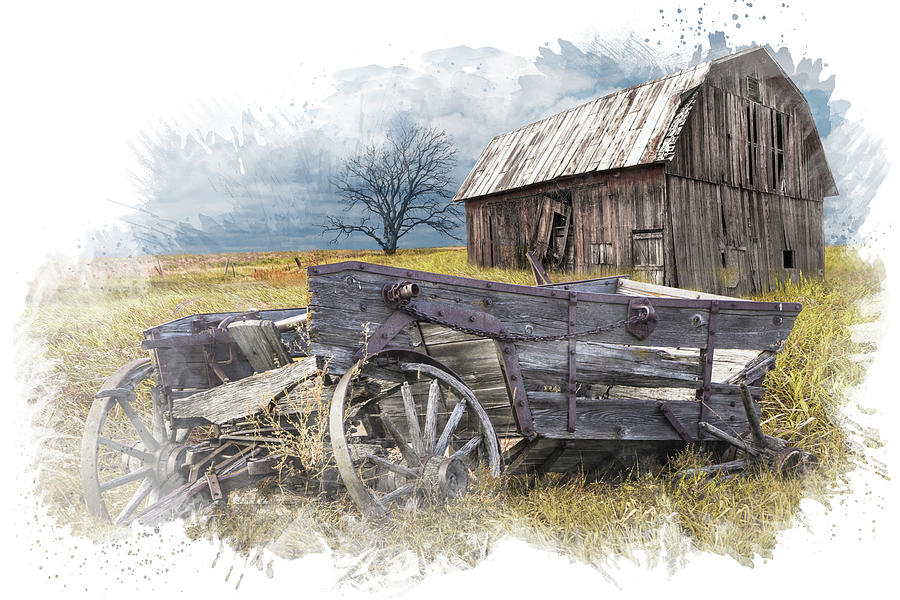 Painterly Digital Photo of an Old Broken Down Wooden Farm Wagon  by Randall Nyhof