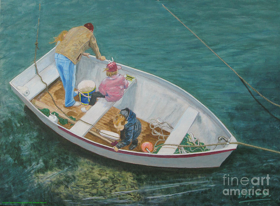 Painting Dad with Three Kids in Boat at Solva Pembrokeshire Wales by Edward McNaught-Davis