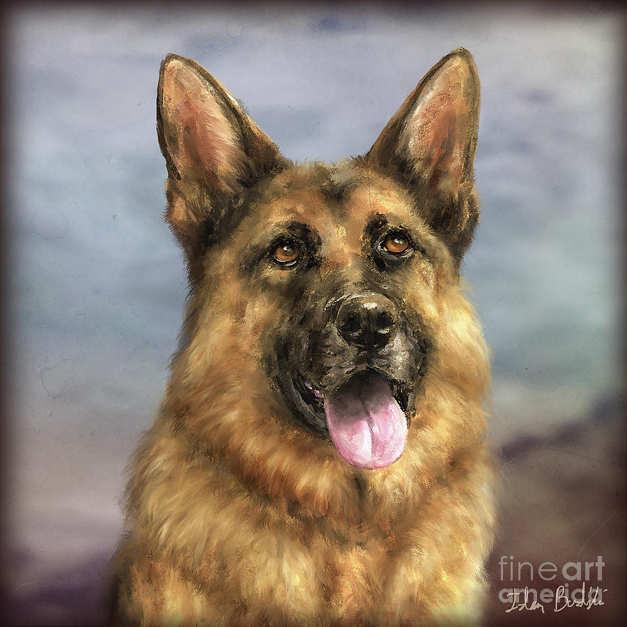 Painting of a Gorgeous German Shepherd with its Tongue Out ...