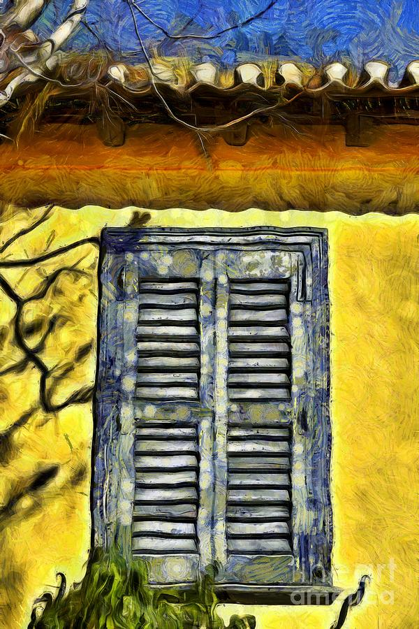 Painting of a window in an old house by George Atsametakis
