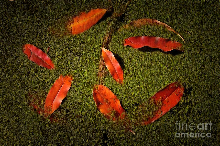 Painting of autumn leaves in a pond with algae by George Atsametakis