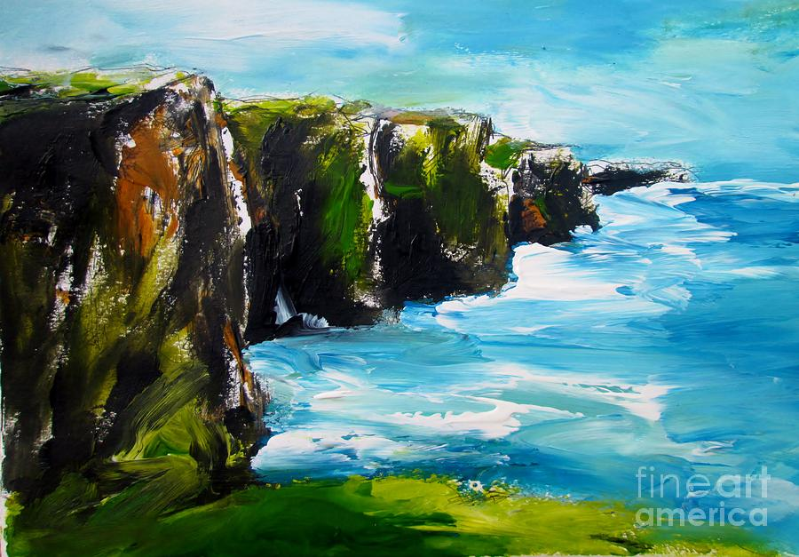 Painting of cliffs of moher ireland  by Mary Cahalan Lee- aka PIXI