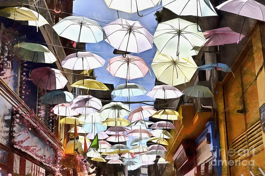 Painting of colorful umbrellas hanging in a street II by George Atsametakis