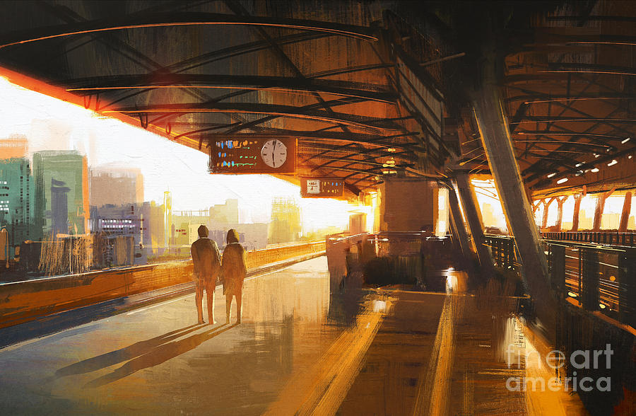 Love Digital Art - Painting Of Couple Waiting A Train by Tithi Luadthong