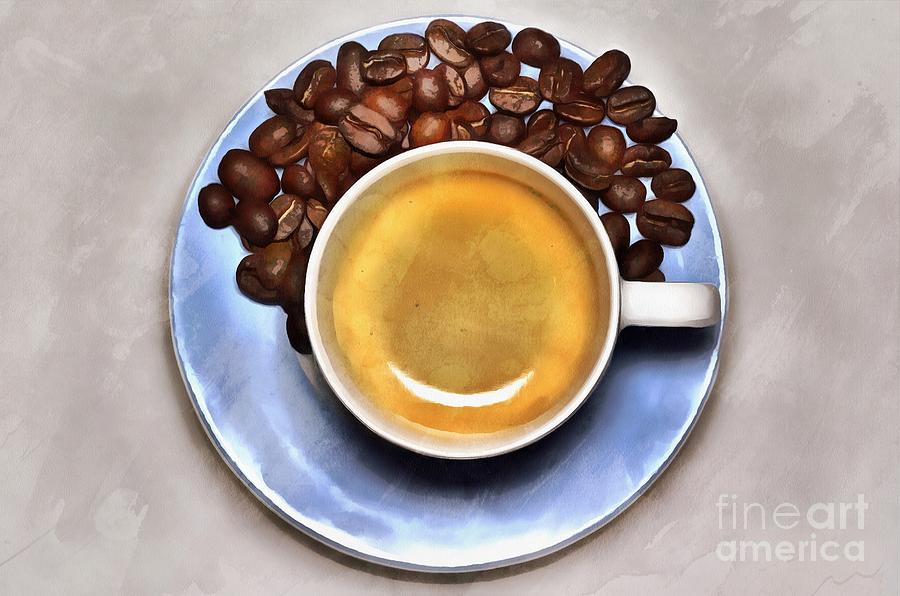 Painting of espresso coffee and coffee beans by George Atsametakis