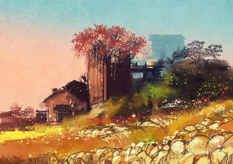 Country Digital Art - Painting Of Farm House On The Country by Tithi Luadthong