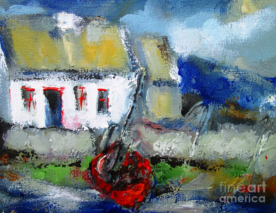 painting of irish cottage by the sea  by Mary Cahalan Lee- aka PIXI