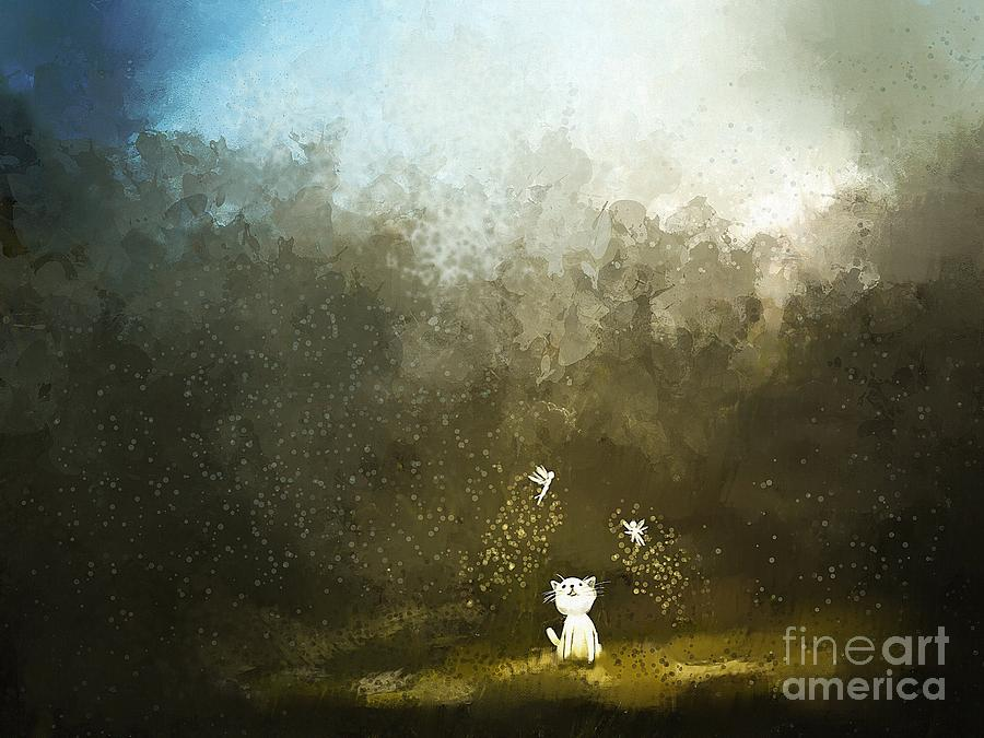 Pets Digital Art - Painting Of Kitten Playing With Fairy by Archv