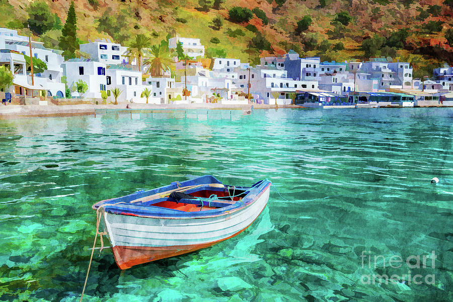 Crete Painting - Painting Of Loutro, Crete by Delphimages Photo Creations