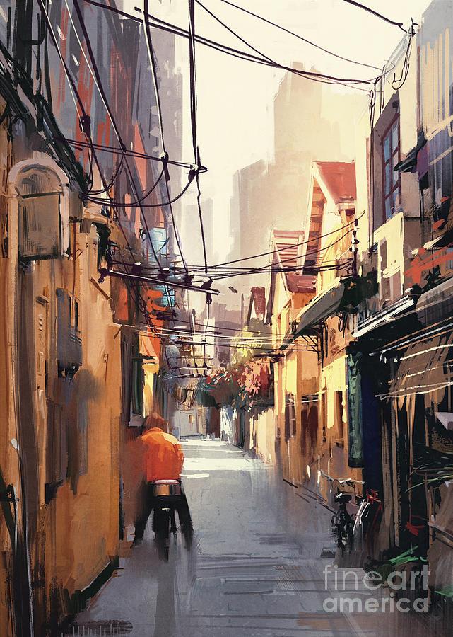 Color Digital Art - Painting Of Narrow Alleyway In Old by Tithi Luadthong