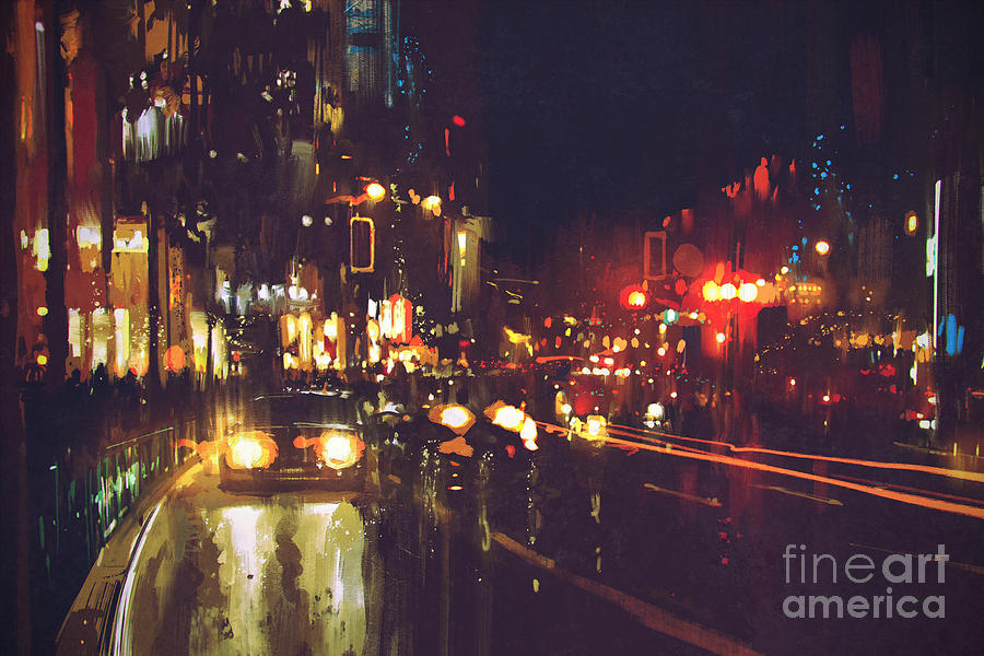 Color Digital Art - Painting Of Night Street With Colorful by Tithi Luadthong