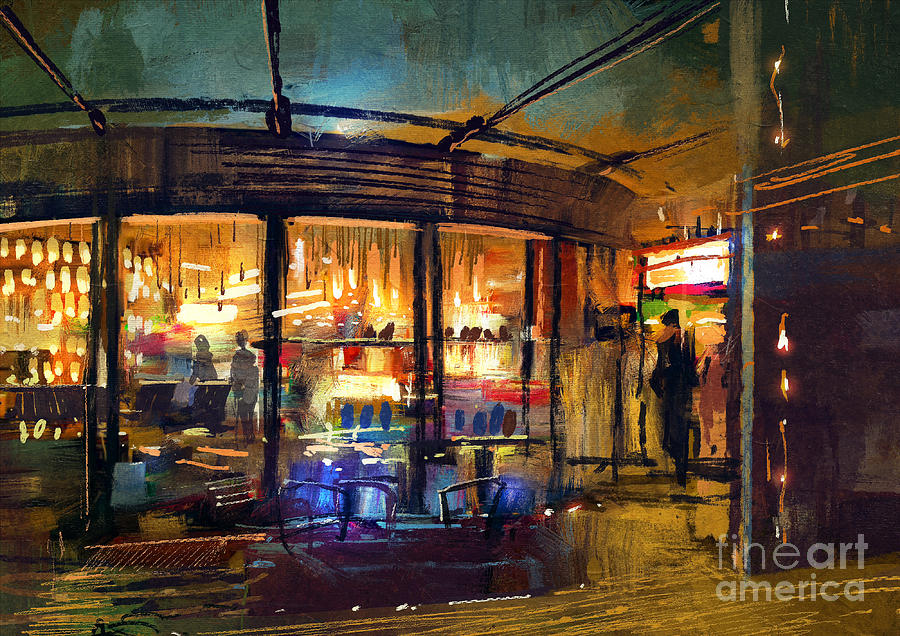 Commercial Digital Art - Painting Of Retail Shop Entrance In by Tithi Luadthong