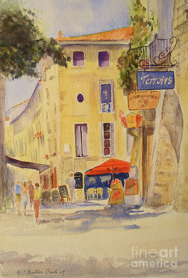Painting of Uzes France by Beatrice Cloake