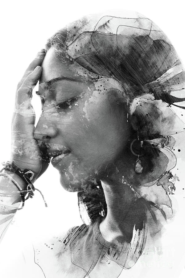 Paintography. Double Exposure Portrait Photograph by Victor tongdee