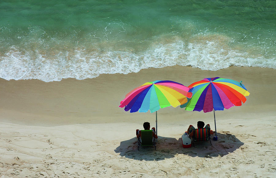 Pair Of Beach Umbrellas Photograph by Dlewis33