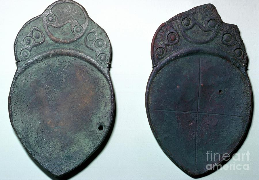 Pair Of Bronze Ritual Iron Age Spoons Drawing by Print Collector