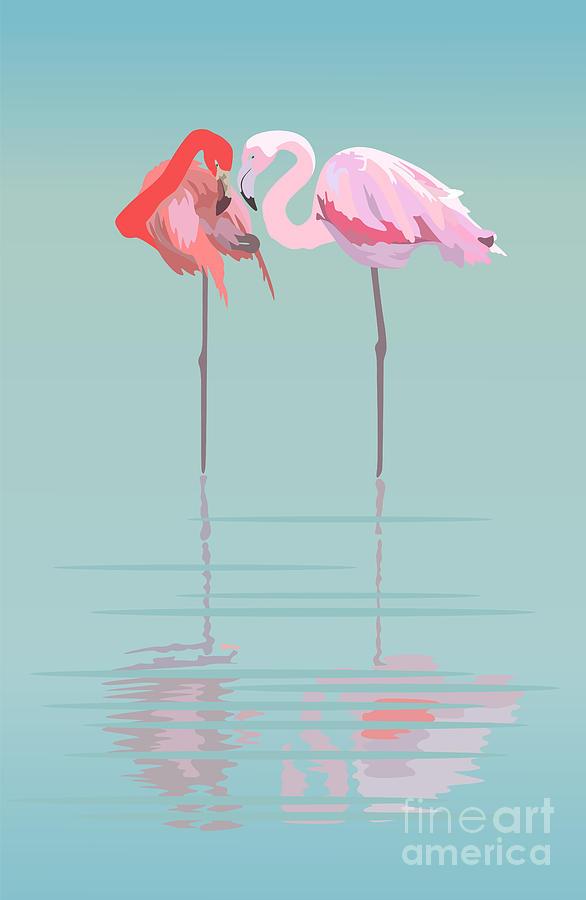 Feather Digital Art - Pair Of Flamingos In The Pond by Viktoriya Pa