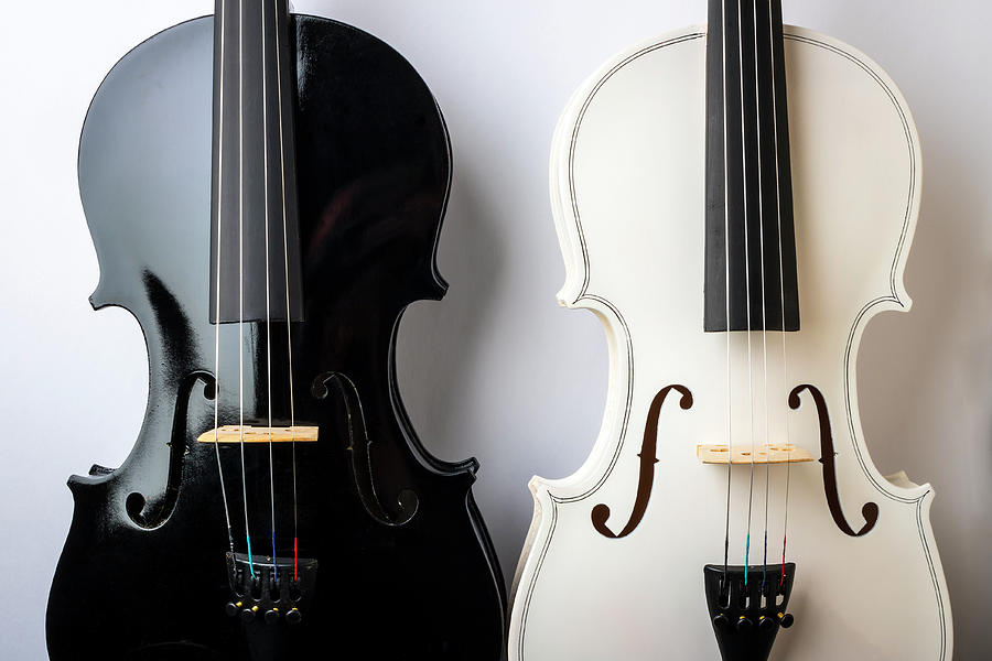 Violin Photograph - Pair Of Violins Black And White by Garry Gay