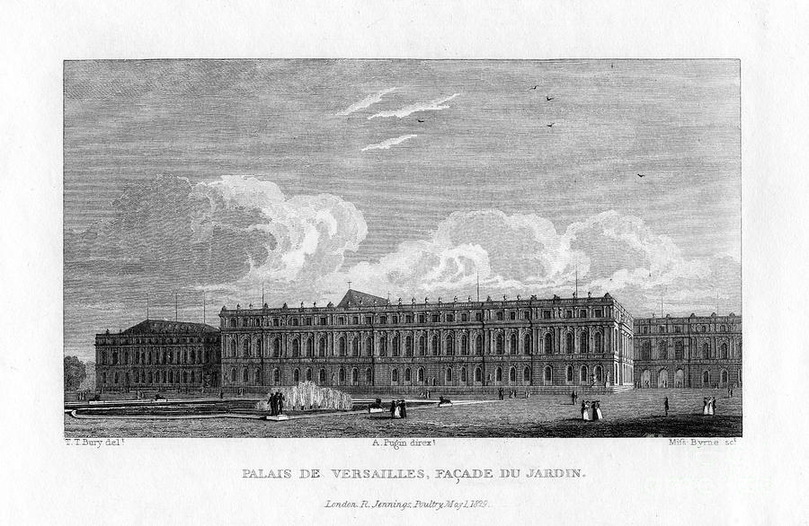 Palace Of Versailles, Near Paris, 1829 Drawing by Print Collector