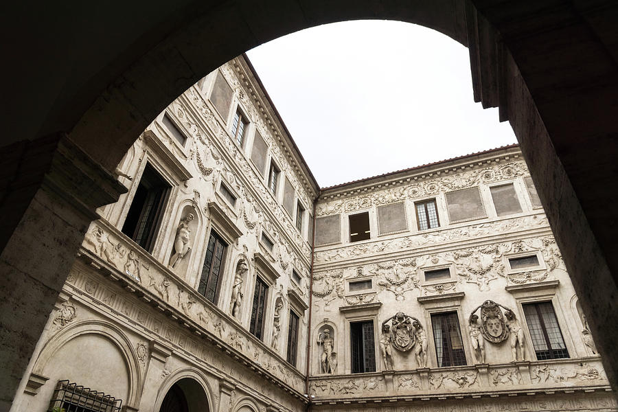 Palatial Courtyard Framed - Opulent Walls with Statues Reliefs Friezes and Coats of Arms by Georgia Mizuleva