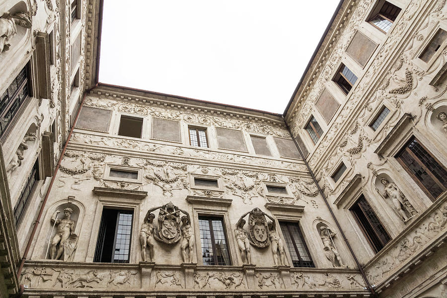 Palatial Courtyard - Opulent Walls with Reliefs Statues Friezes and Coats of Arms by Georgia Mizuleva