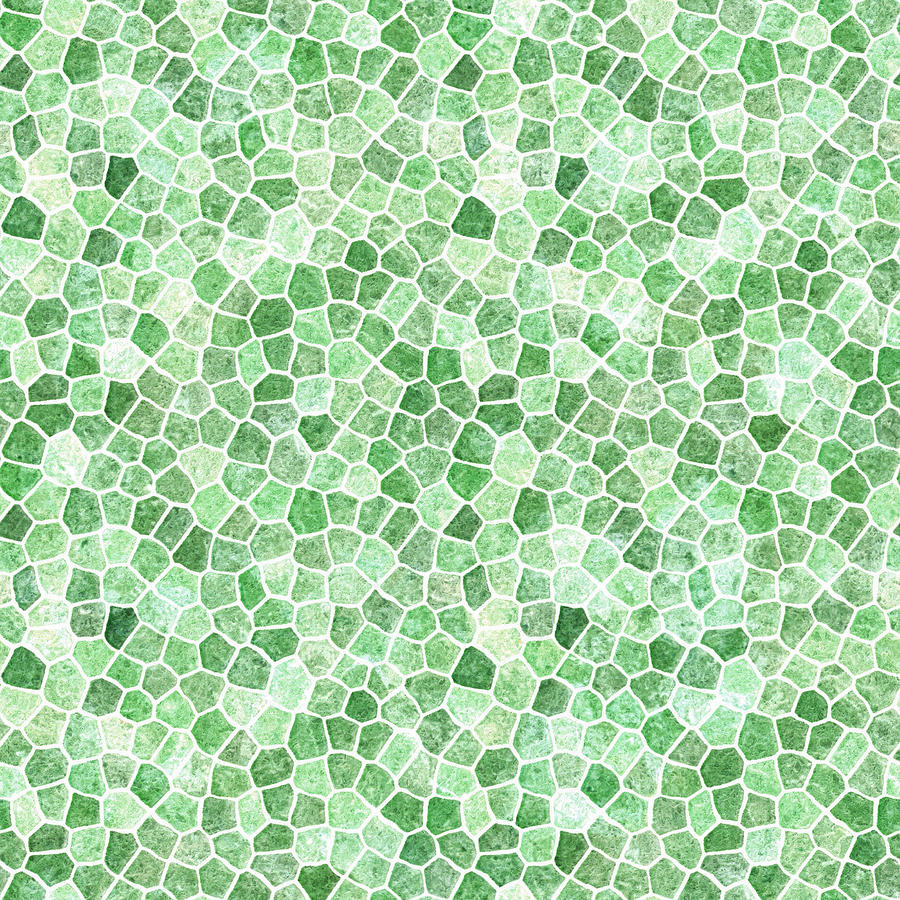 Pale Emerald and Pistachio Cobbled Patchwork by Taiche Acrylic Art
