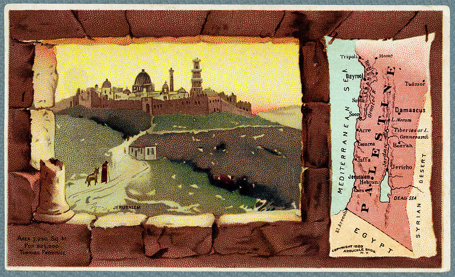 Palestine Map from 1889 advertising card by Phil Cardamone