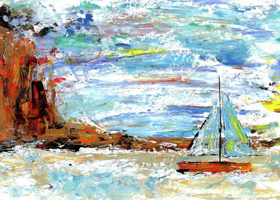 Palette Knife Painting Of Sailboat With Digital Art by Fstop123